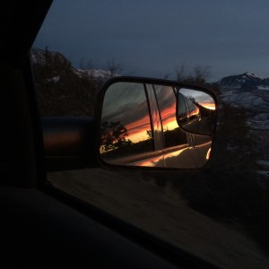 Beautiful sunset today as we were driving up the hill.