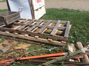 Old Pallets and bent metal t-posts